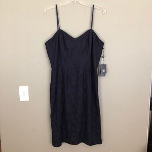 Adrianna Papell Navy Strapless Lace Dress